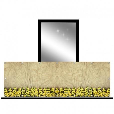 Osłona balkonowa jednostronna - Żółte kwiaty na desce