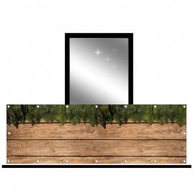 Osłona balkonowa jednostronna - Liście na deskach