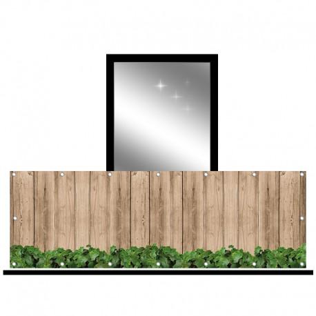 Osłona balkonowa jednostronna - Deski i liście