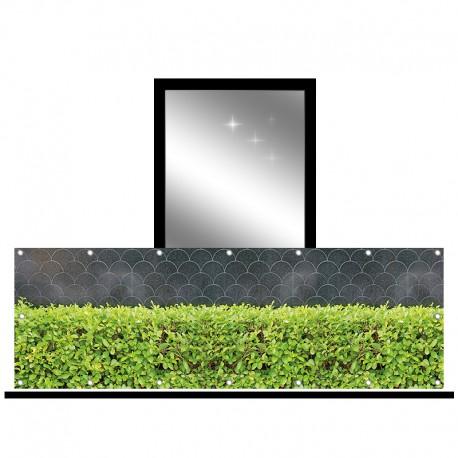Osłona balkonowa jednostronna - Zielony krzew