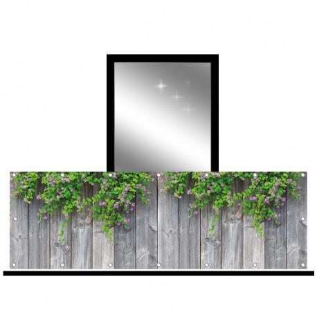 Osłona balkonowa jednostronna - Fioletowe kwiaty na deskach