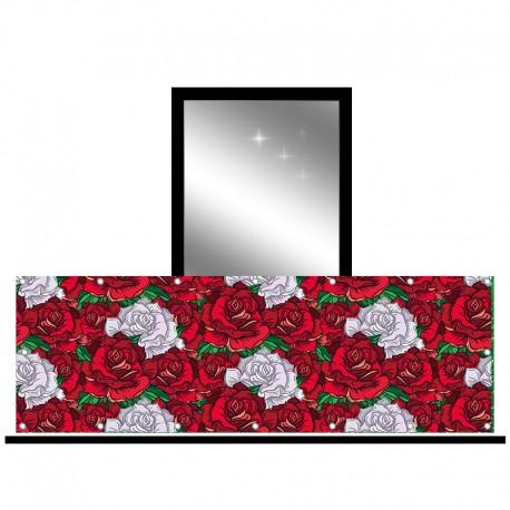 Osłona balkonowa jednostronna - Czerwono-białe róże