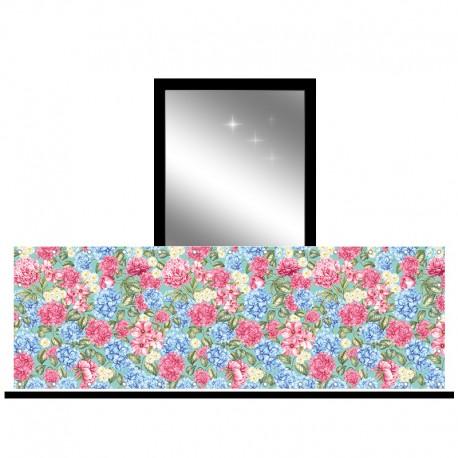 Osłona balkonowa jednostronna - Hortensje z kwiatami