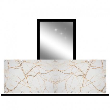 Osłona balkonowa jednostronna - Beżowy marmur ze złotem
