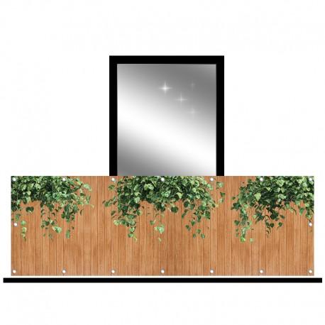 Osłona balkonowa siatka - Złociste pnącze na deskach