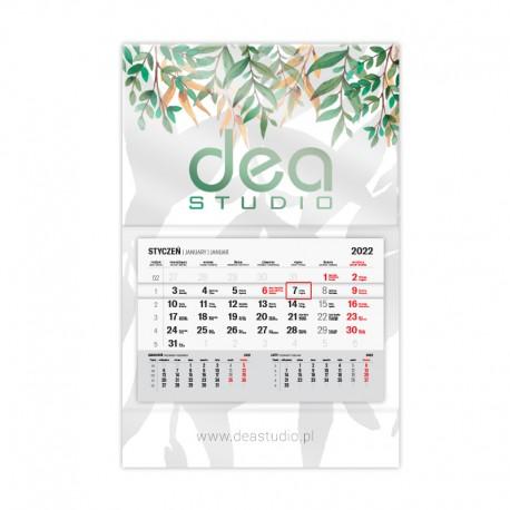 Kalendarze jednodzielne foliowane błysk/mat z wypukłą główką
