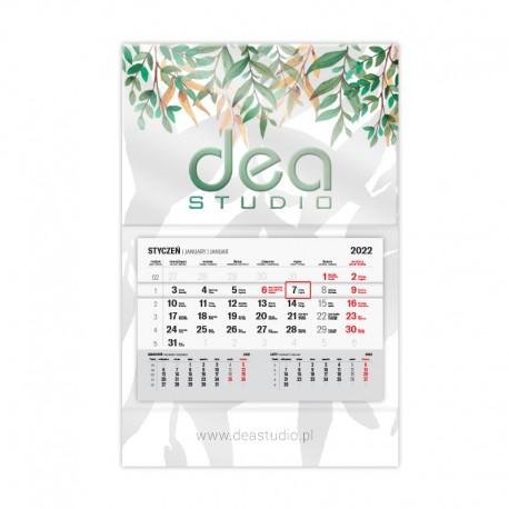 Kalendarze jednodzielne lakier wybiórczy UV + folia mat z wypukłą główką