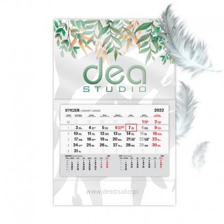 Kalendarze jednodzielne lakier wybiórczy UV + folia soft touch z wypukłą główką